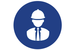 construction management icon with man in suit